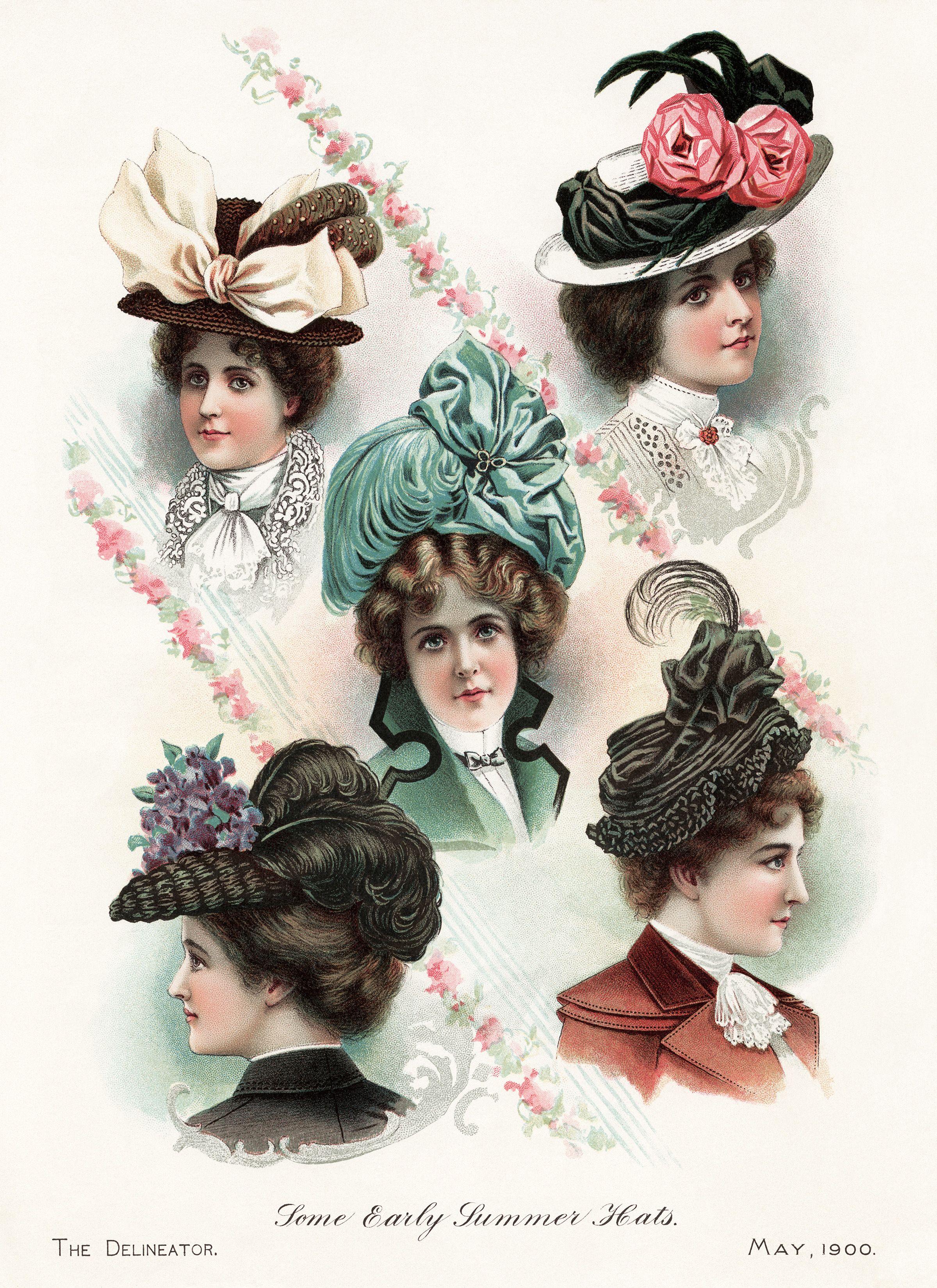 Victorian hat clip art free, elegant hat illustration, old.