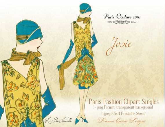 Vintage Clipart 1900 fashion clipart female by DeannaCartea.