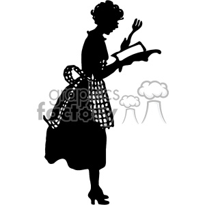 vintage silhouette of wife cooking from a cookbook vector vintage 1900  vector art GF clipart. Royalty.