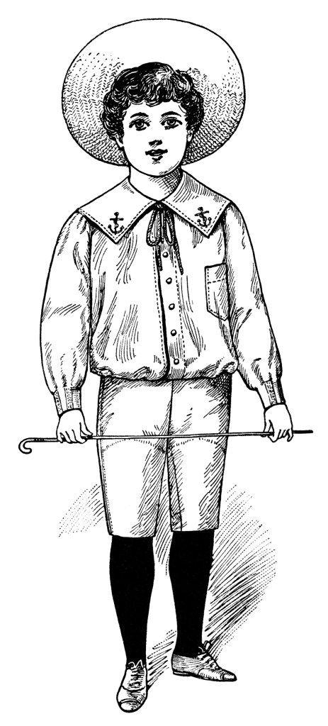 Victorian boy, fashion for children 1900, digital stamp.