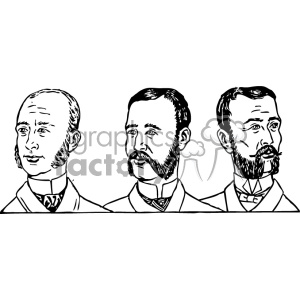mens hair styles 1900 clipart. Royalty.