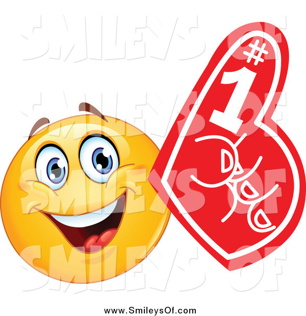 Vector Clipart of a Fan Emoticon with a Red Foam Finger by.