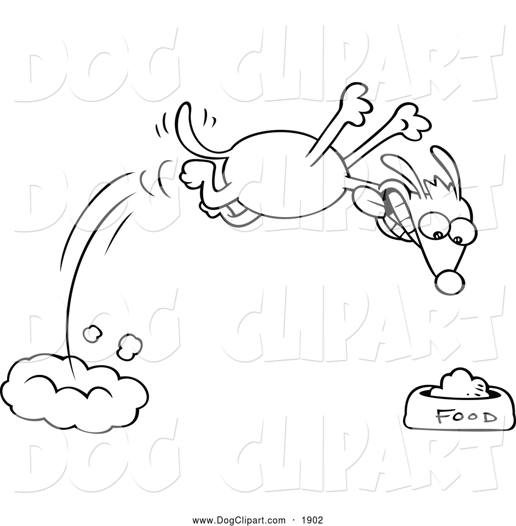 Clip Art of a Black and White Hungry Dog Diving Towards His Food.