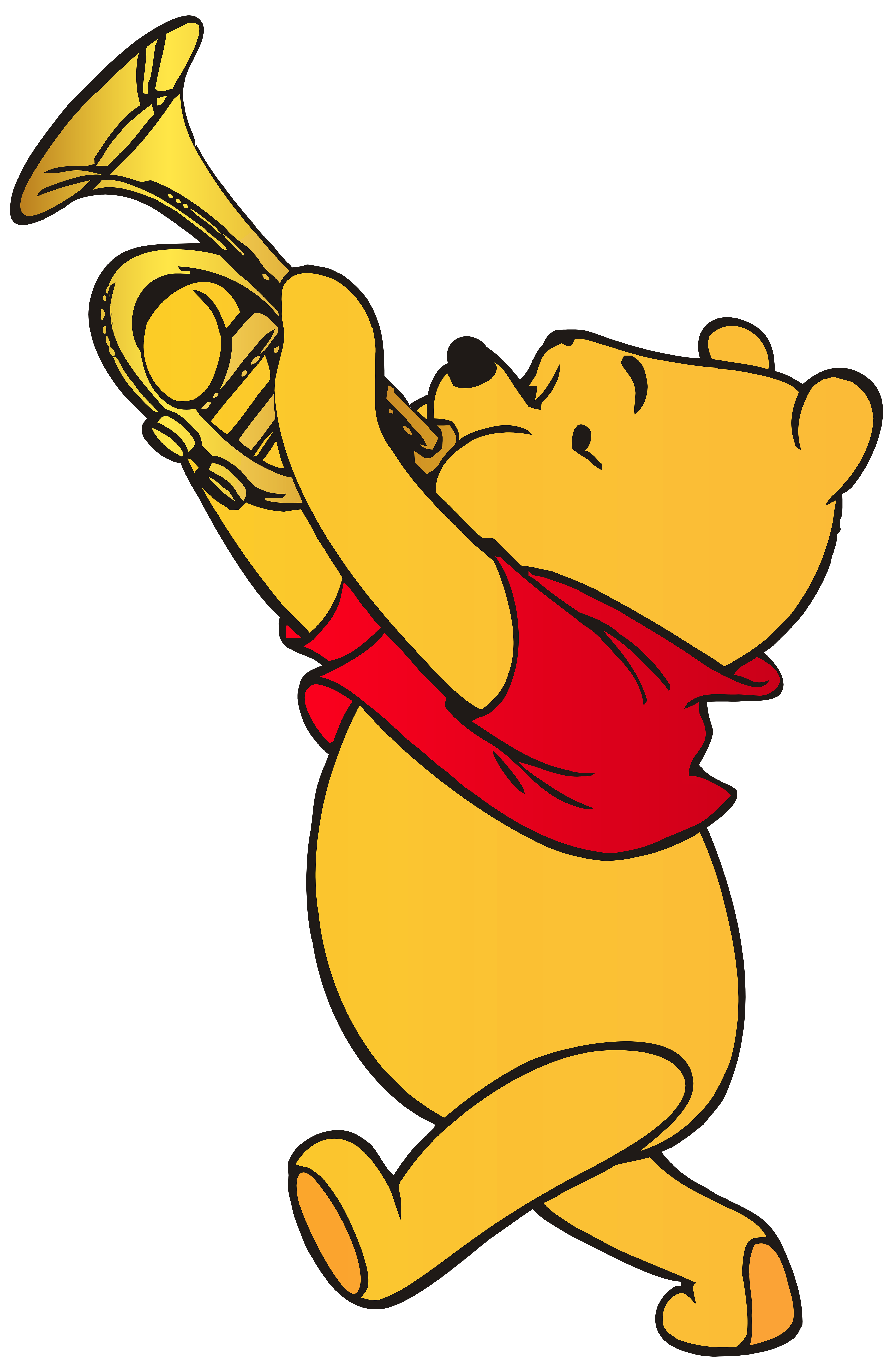 Winnie the Pooh Playing Trumpet PNG Clip Art.