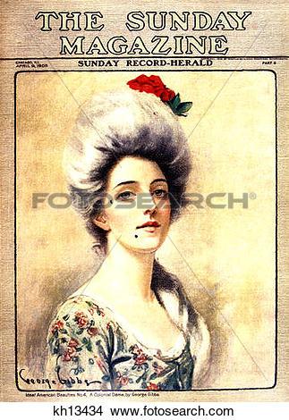 Stock Photo of 1905 Magazine Cover Portrait Of 1700S 18Th Century.