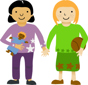 Two Little Girls Clip art.
