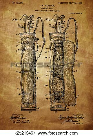 Stock Illustration of Golf Bag Patent 1905 k25213467.