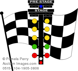 Clip Art Image of a Checkered Racing Flag With a Light Rack.