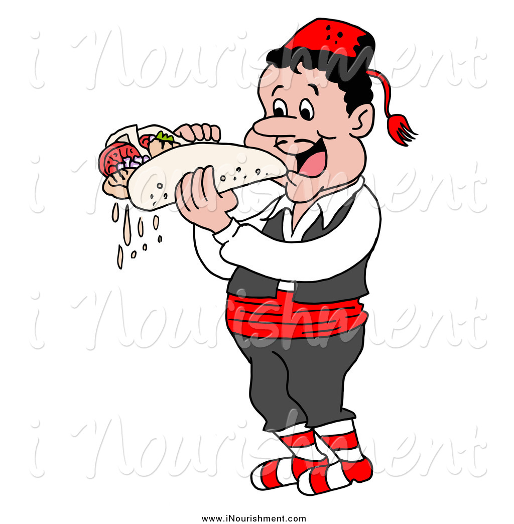 Clipart of a Hungry Greek Guy Eating a Messy Pita Wrap by LaffToon.