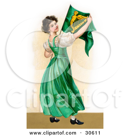 Clipart Illustration of a Vintage Victorian St Patrick's Day Scene.