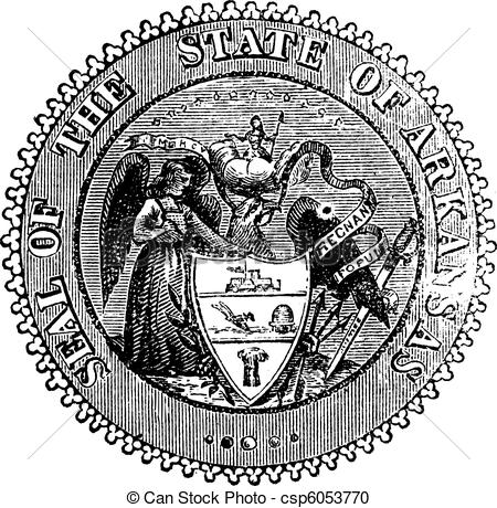 Vector Clipart of Seal of Arkansas prior to 1907 old engraving.
