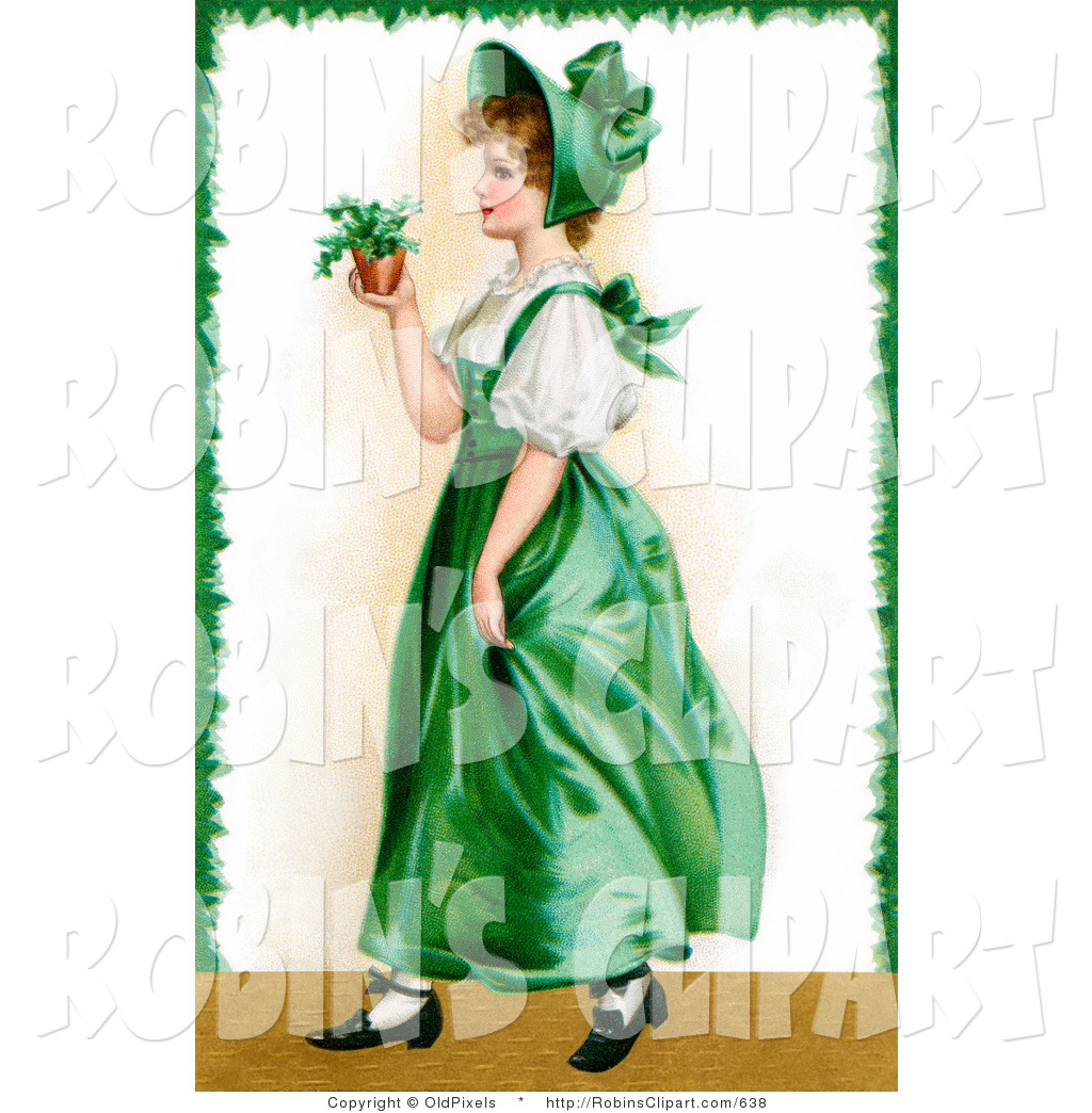 Clip Art of a Vintage Victorian Saint Patrick's Day Scene of a.