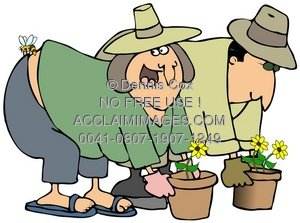 Clipart Illustration of Two Gardeners, One Being Stung by a Bee.