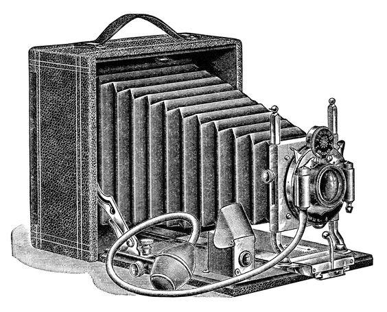 aged paper ephemera, old fashioned camera image, black and white.