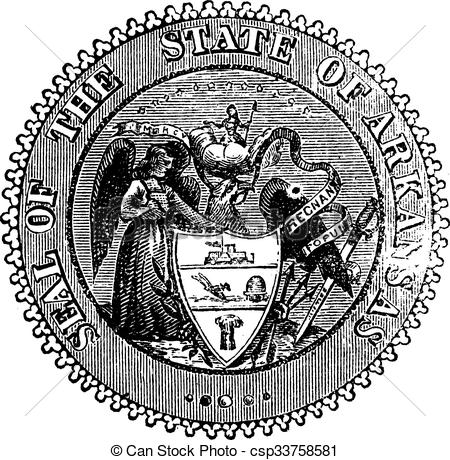 Vector of Seal of Arkansas prior to 1907 old engraving. Vintage.