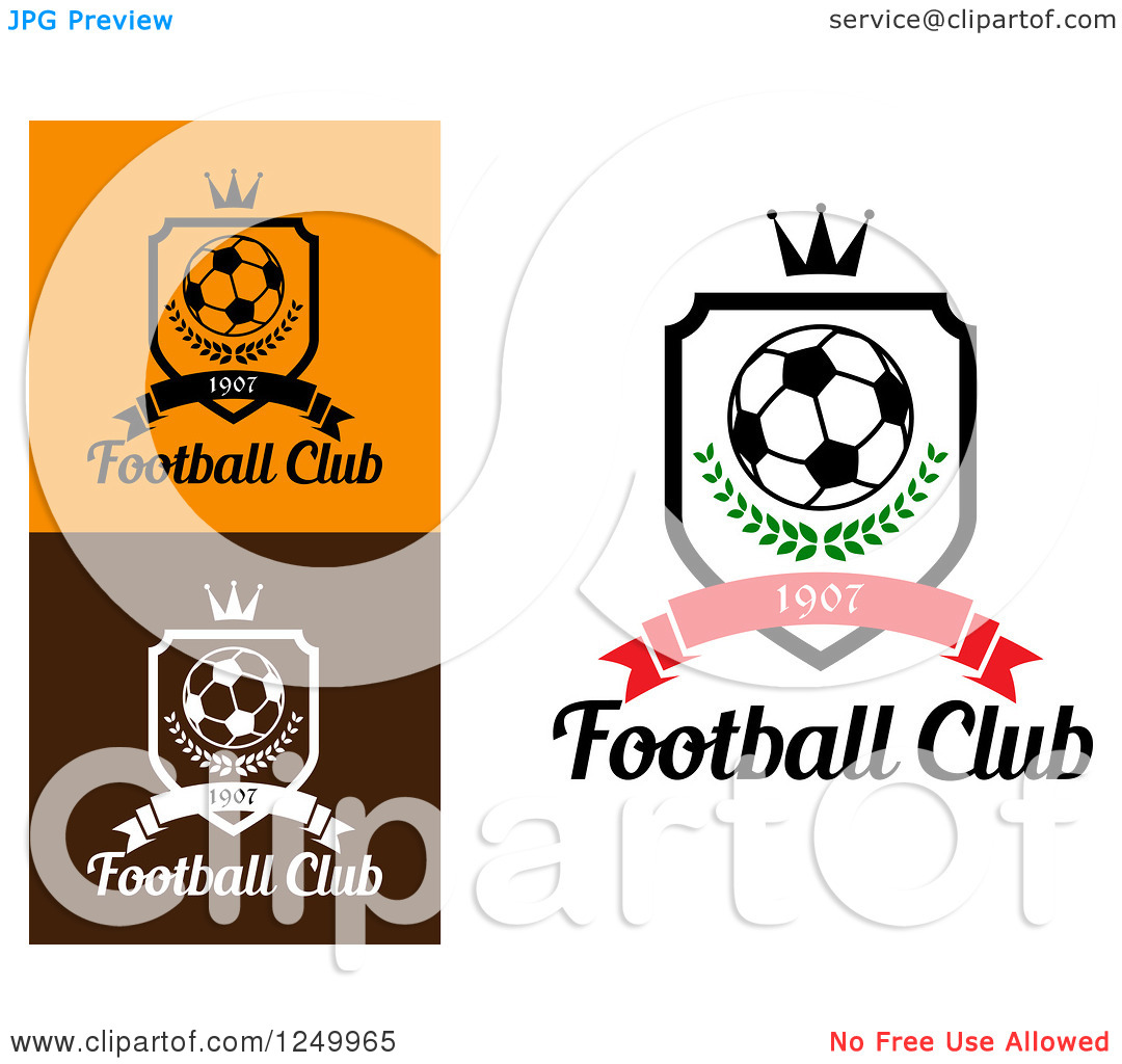Clipart of a Soccer Ball Shields with 1907 Banners Crowns and.