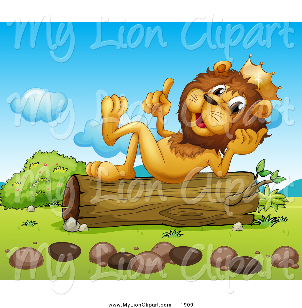 Clipart of a King Lion Thinking on a Log by colematt.