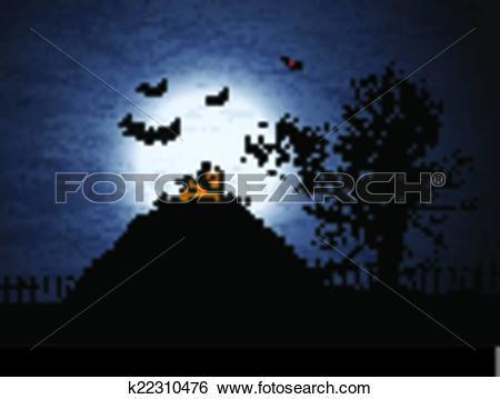 Clip Art of halloween background 1909 k22310476.