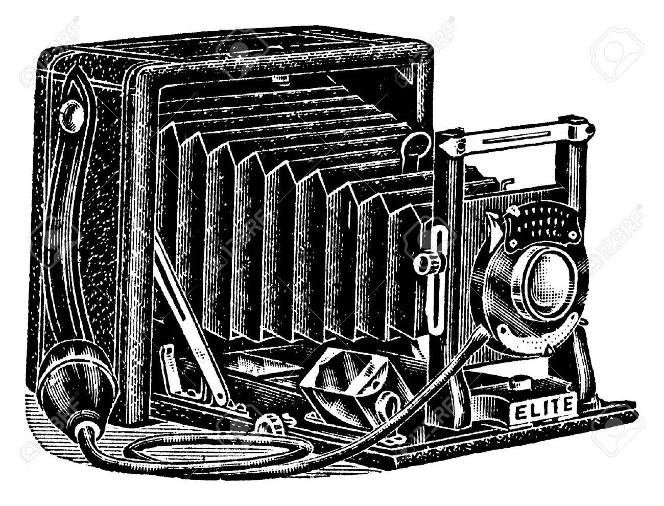 An Antique Engraved Illustration Of A Camera With Bellows.