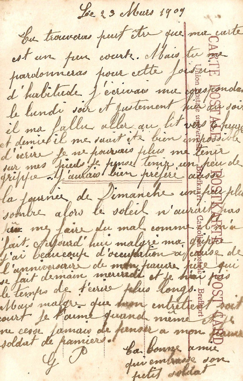 Free Digital Background: 1909 French Postcard Back Handwriting.