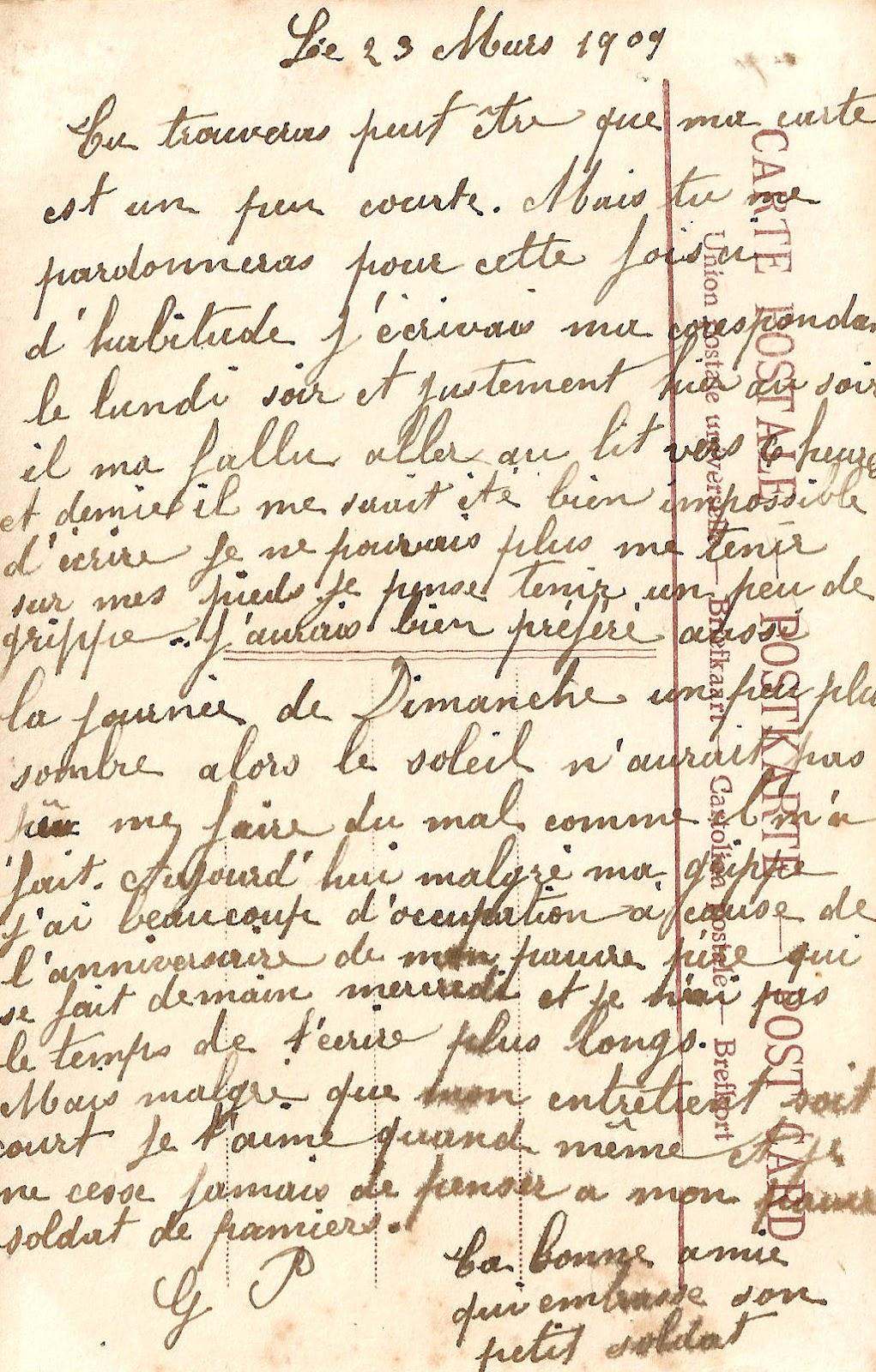 Free Digital Background: 1909 French Postcard Back Handwriting.