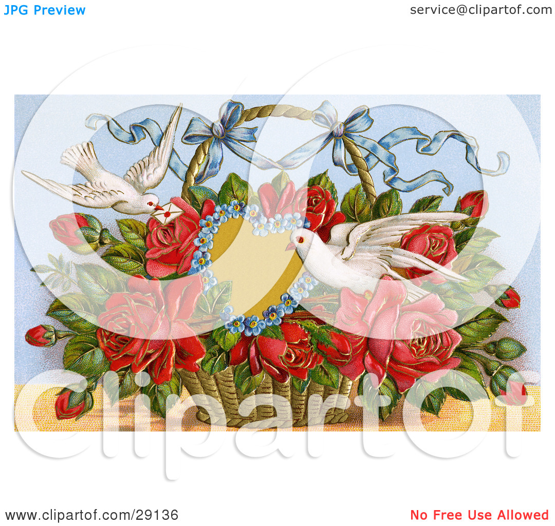 Clipart Picture of a Vintage Valentine Of Two Doves Delivering A.