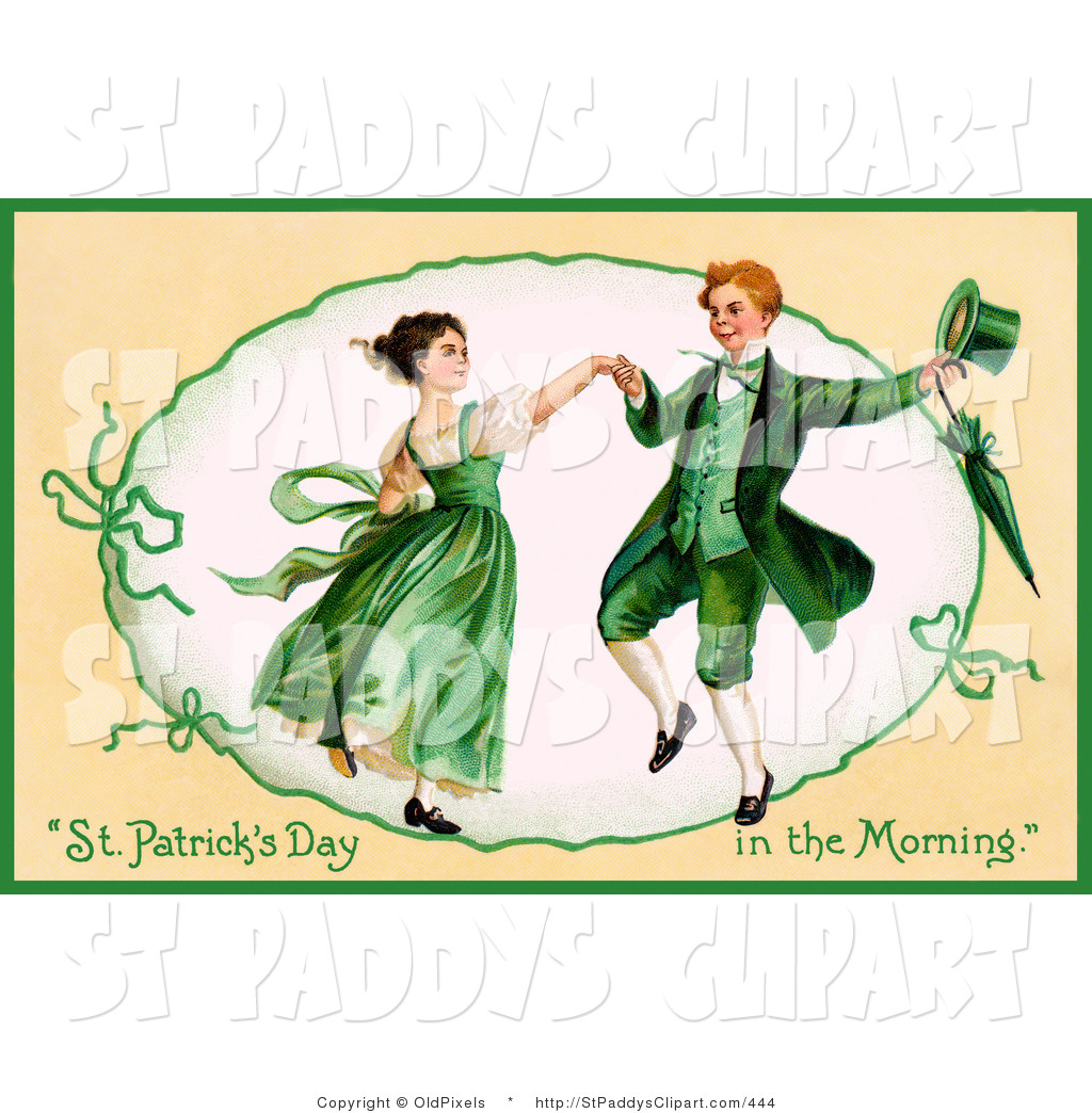 Clip Art of a St Patricks Day Vintage Happy Young Irish Couple.