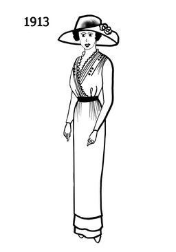 Costume Silhouettes Free Line Drawings 1910 Clipart.