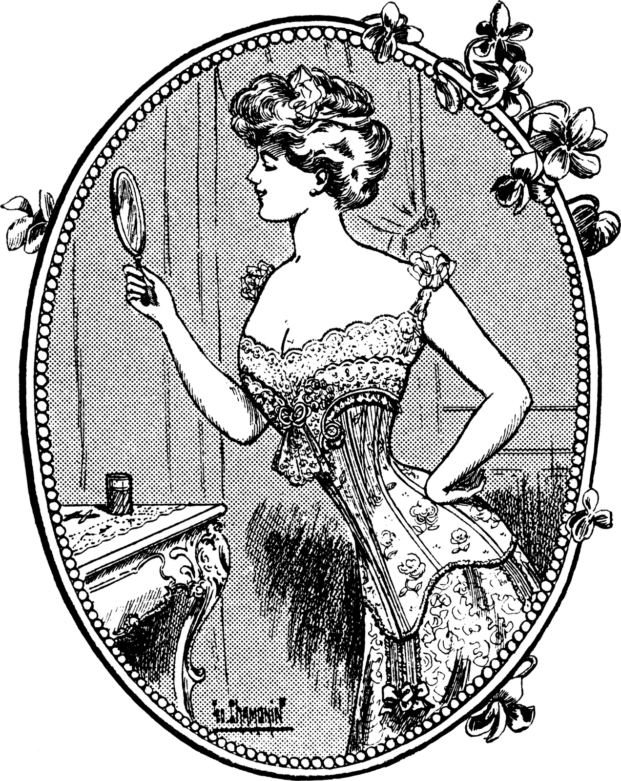 1910 Woman Clipart.