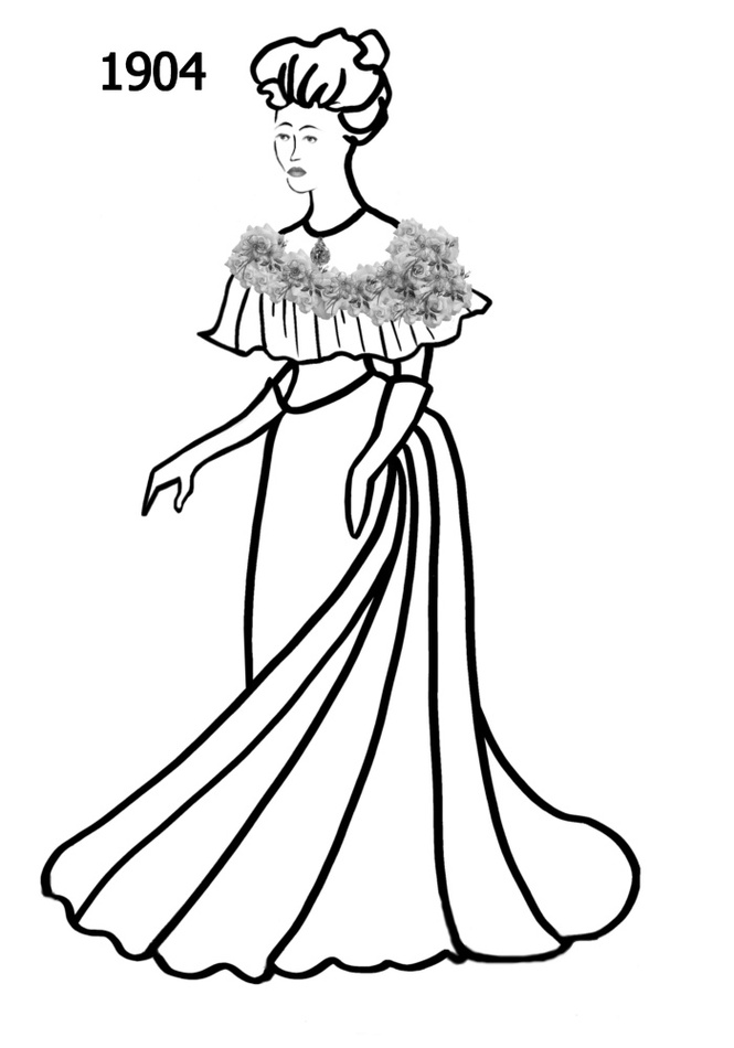 Costume Silhouettes 1900 1910 Free Line Drawings Clipart.