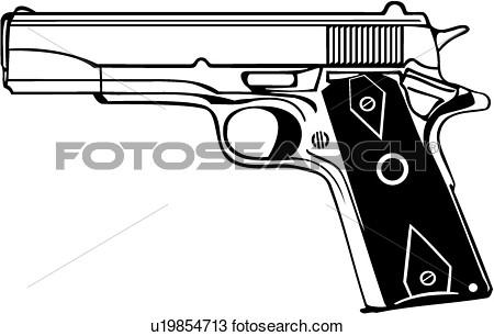 1911 Handgun Clipart.