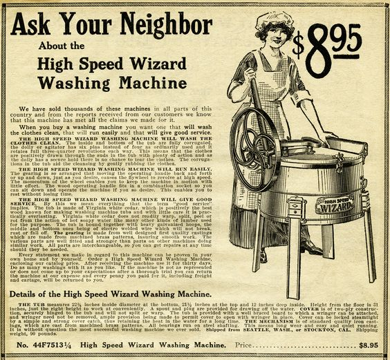 """Full """"Wizard Washing Machine"""" ad from 1913. There were definitely."""