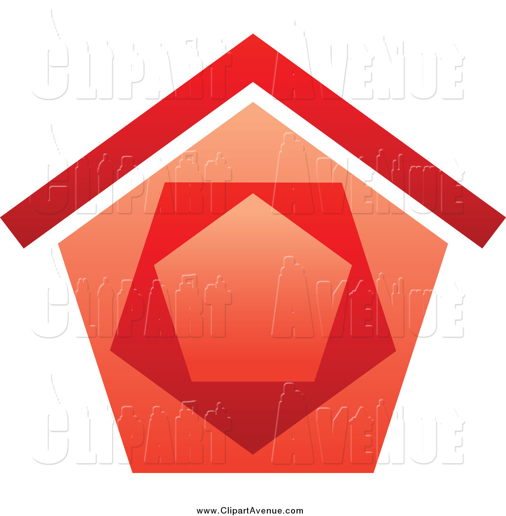 Avenue Clipart of a Red House by Vector Tradition SM.