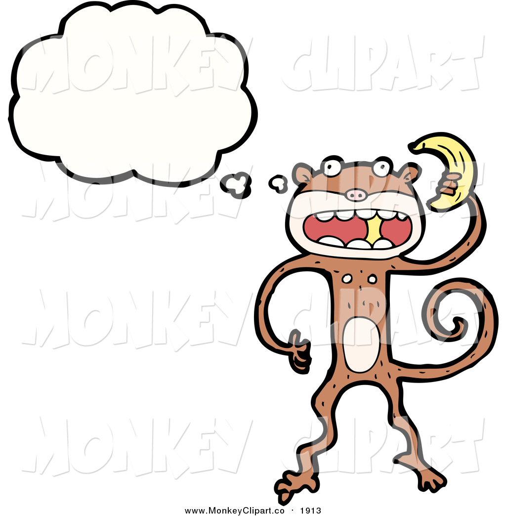 Clip Art of a Thinking Monkey Holding a Banana by lineartestpilot.