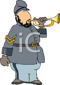 Cartoon of a Confederate Soldier Blowing a Bugle.