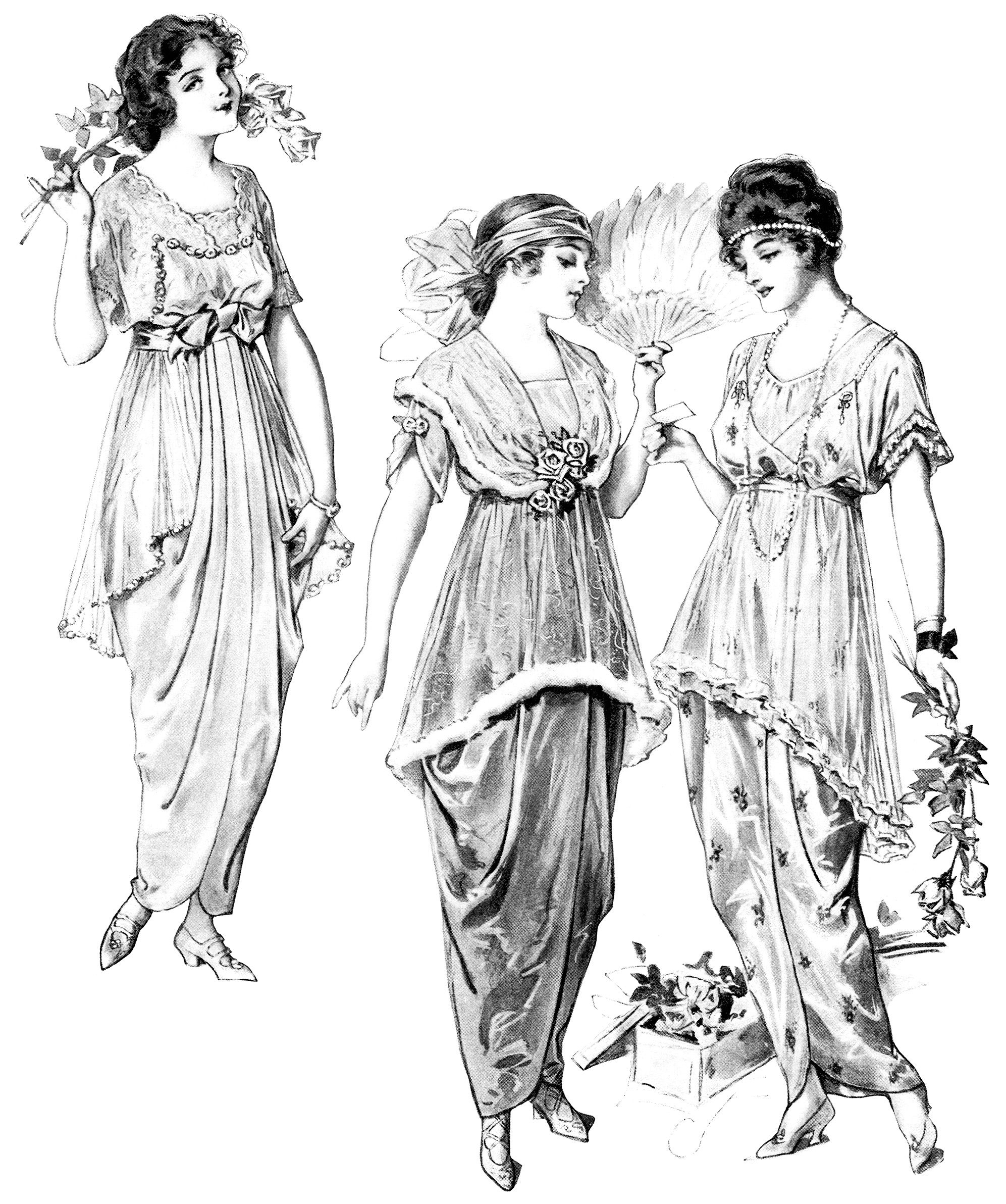Young Ladies' Fashion 1914 ~ Free Vintage Black and White.