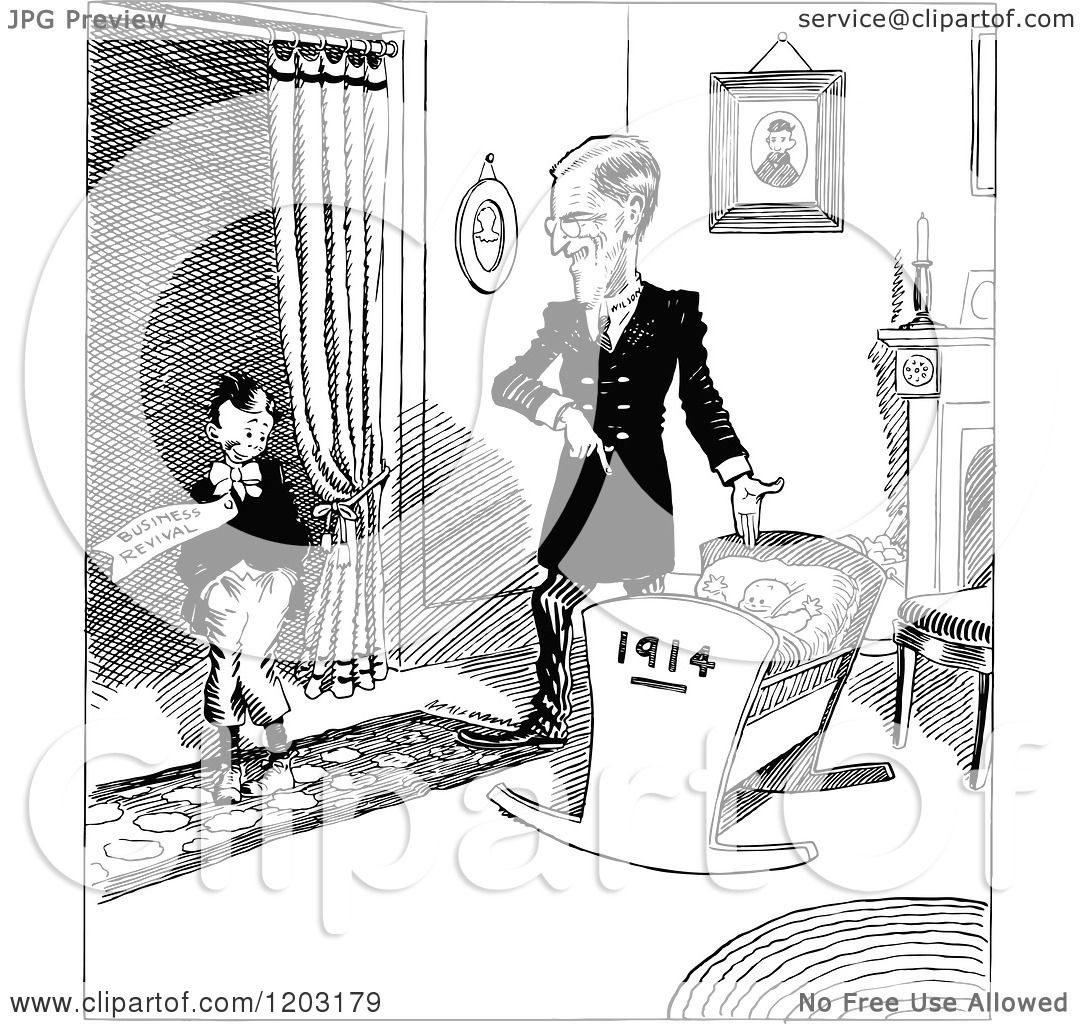 Cartoon of a Vintage Black and White Boy Dad and Baby with a 1914.