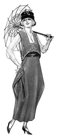 Young Ladies' Fashion 1914 ~ Free Vintage Black and White.