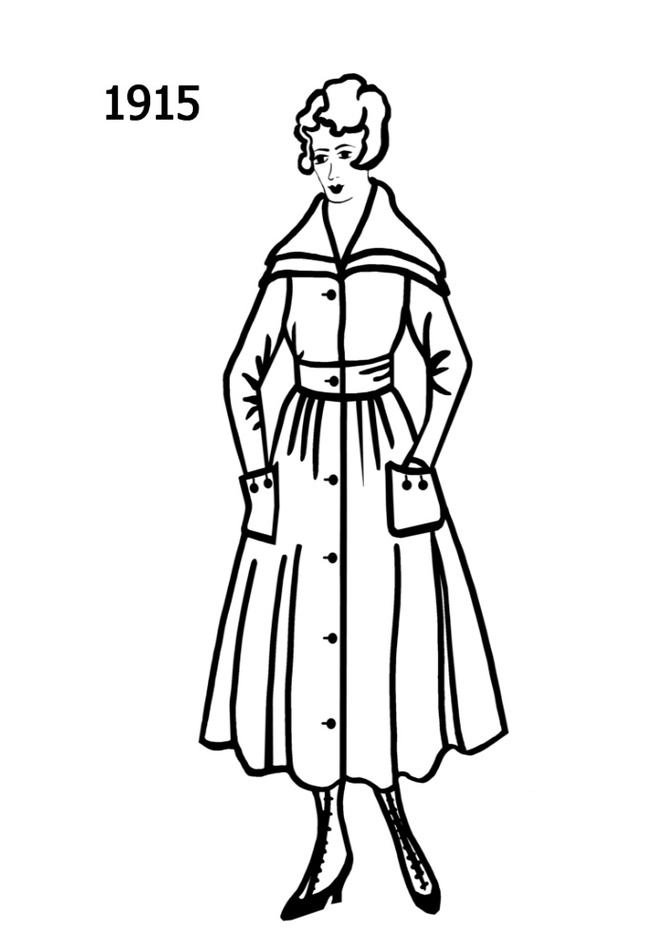 Costume Silhouettes 1914 1915 Free Line Drawings Clipart.