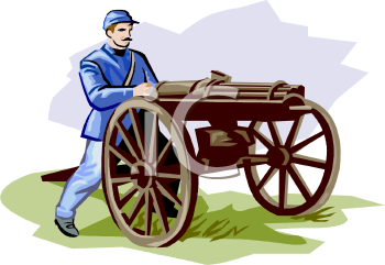 Royalty Free Clipart Image: Civil War Soldier Using a Gatling Gun.