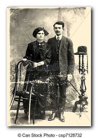 Stock Photo of Young pretty, elegant couple. 1915.