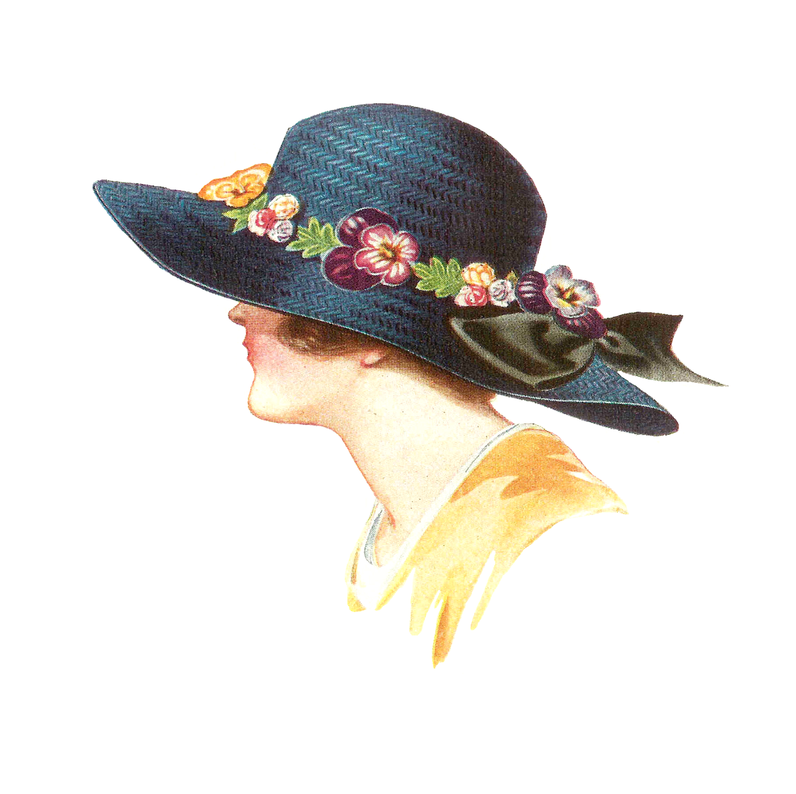 Antique Images: Free Hat Fashion Clip Art: 1915 Women's Spring Hat.