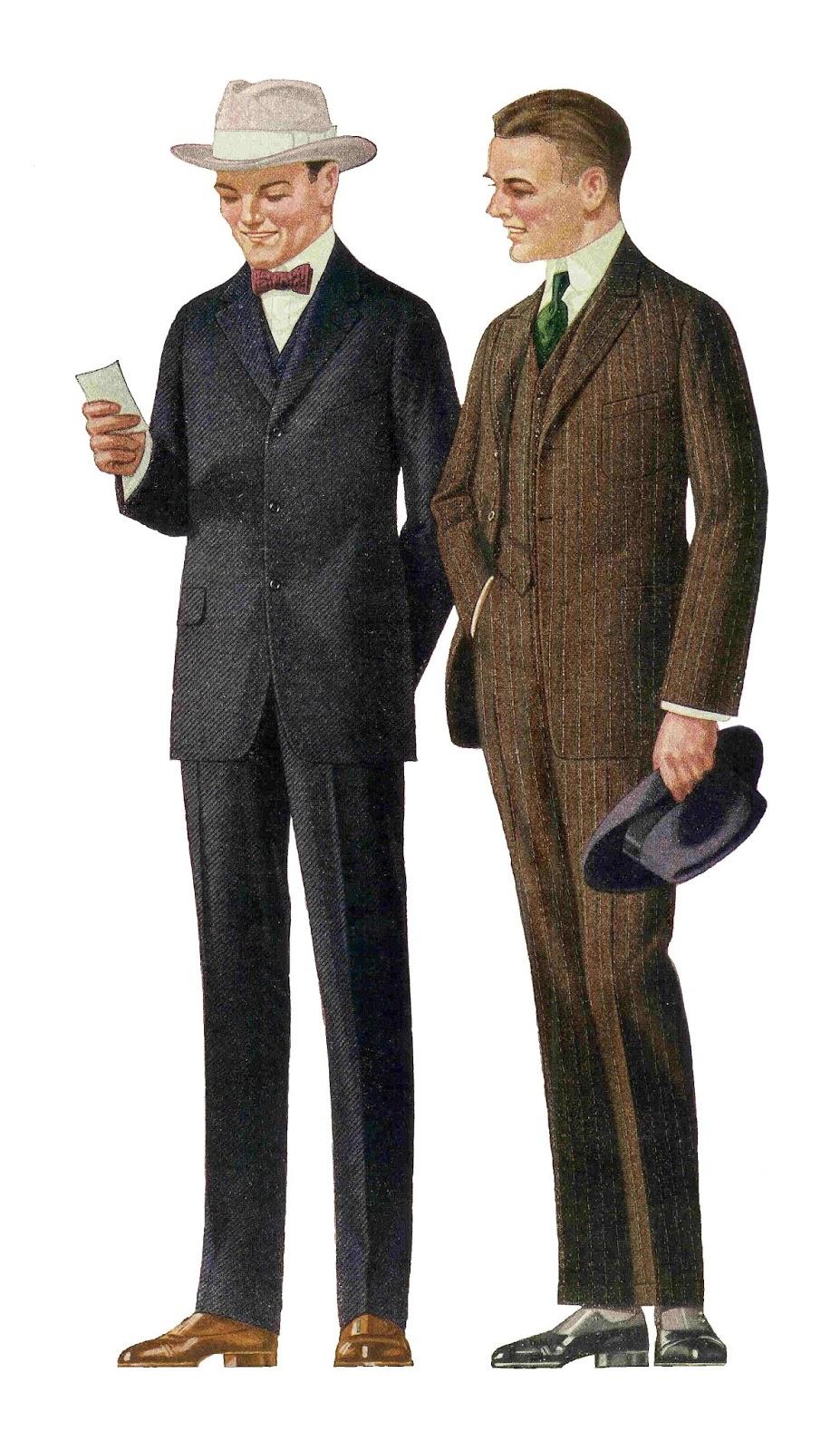 Antique Images: Free Fashion Clip Art: 1915 Men's Suits 2 Vintage.