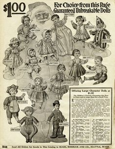Old catalogue page, vintage printable toys, antique dolls, 1916.