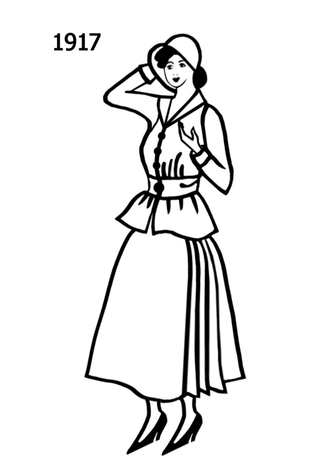 C20th Costume Silhouettes 1916 1917 Free Line Drawings Clipart.