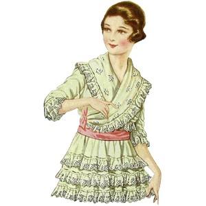 Vintage Women's Fashion Clip Art Vintage 1917 Woman's Frilly.