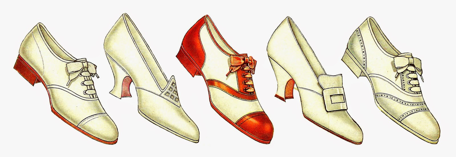 Antique Images: Free Fashion Clip Art: 5 Vintage Women's Shoe.