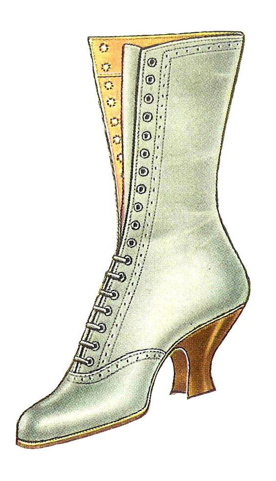 Antique Images: Free Fashion Clip Art: Vintage 1917 White Lace Up.