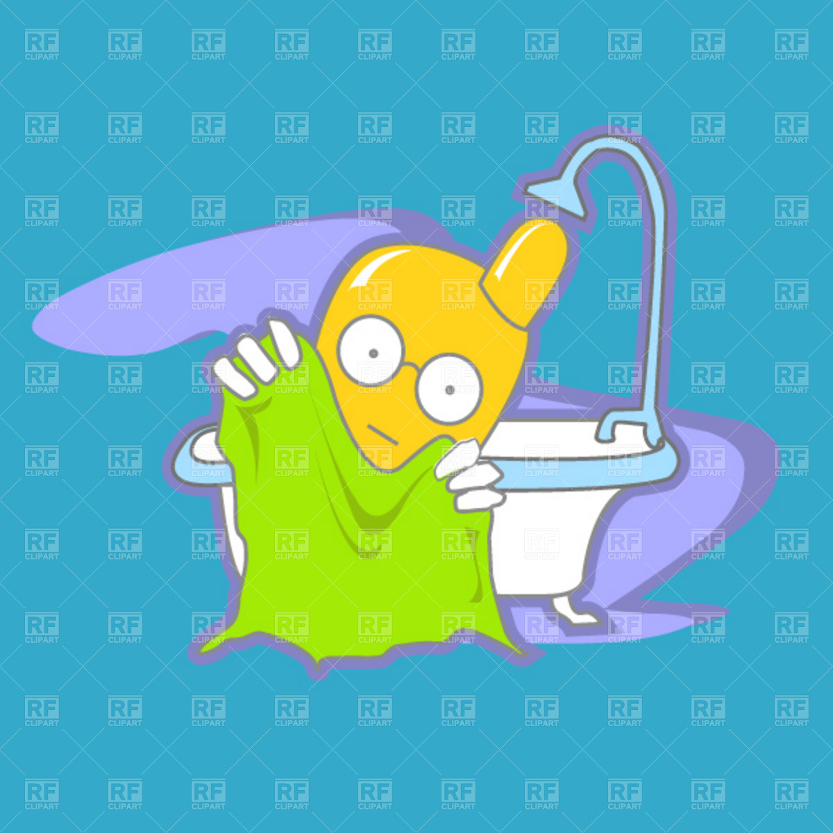 Cartoon mobile phone in the bathroom Vector Image #1918.