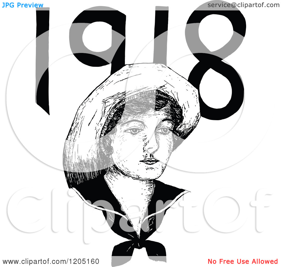 Clipart of a Vintage Black and White 1918 Woman.